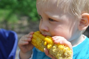 Child eating corn